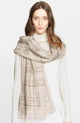 Fabiana Filippi Paillette Detail Plaid Scarf Beige