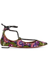 Aquazzura Christy Embroidered Canvas Point Toe Flats Purple