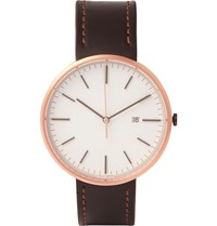 Uniform Wares M40 Rose Gold Pvd Plated Stainless Steel And Leather Watch Brown