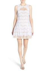 Junior Women's Steppin Out Illusion Lace Fit And Flare Dress Off White