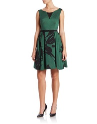 Taylor Floral Fit And Flare Dress Emerald Black