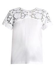 N 21 Lace Panelled Cotton Top White