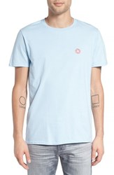 The Rail Men's Crewneck T Shirt With Embroidery Light Blue Sprinkled