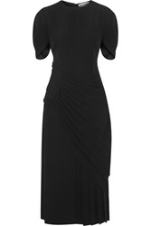 Jil Sander Pleated Crepe Midi Dress Black