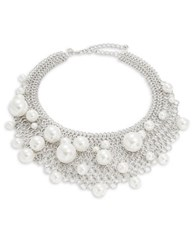 Kenneth Jay Lane Chain Link Faux Pearl Bib Necklace Silver