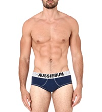 Aussiebum Enlargeit Stretch Cotton Logo Briefs Navy