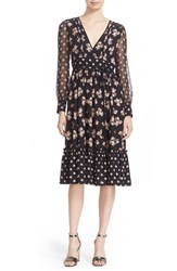 Kate Spade Women's New York Mixed Ditsy Print Silk V Neck Midi Dress