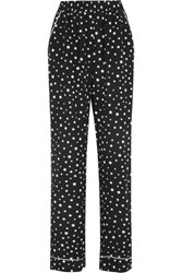Dolce And Gabbana Polka Dot Silk Blend Wide Leg Pants Black