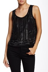 Angie Faux Leather Sequin Beaded Tank Black