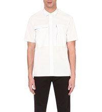 Blood Brother Roma Zip Detail Cotton Shirt White