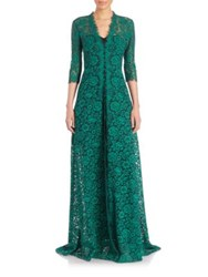 Carolina Herrera Cording Flower Lace Button Down Gown Green Black