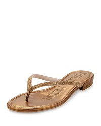 Pelle Moda Bali Crystal Leather Thong Sandal Bronze