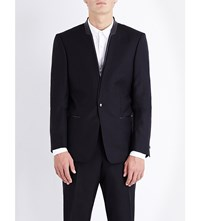The Kooples Leather Trimmed Slim Fit Wool Jacket Black