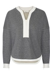 3.1 Phillip Lim Two Tone Cotton Terry Sweatshirt Gray