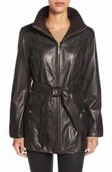 Women's Ellen Tracy Belted Front Zip Leather Coat