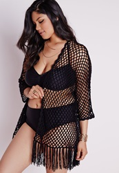 Missguided Plus Size Fishnet Crochet Cardigan Black