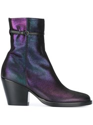 A.F.Vandevorst Petrol Effect Ankle Boots Pink And Purple