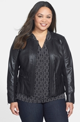Sejour Embossed Leather Jacket Plus Size Black