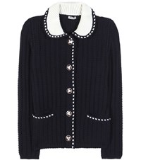 Miu Miu Knitted Wool Cardigan Blue