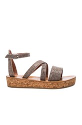 K Jacques Leather Thoronet Sandals In Gray Animal Print