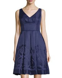 Maggy London V Neck Jacquard Fit And Flare Dress Galaxy Blue
