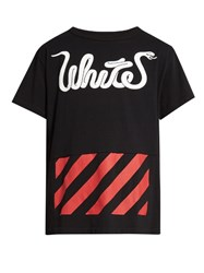 Off White Patchwork Logo Print Cotton T Shirt Black Multi