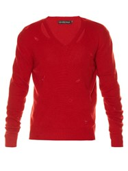 Alexander Mcqueen Distressed V Neck Sweater Red