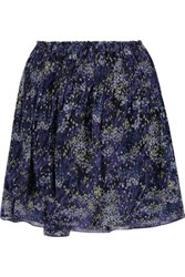 Joie Gazania Printed Silk Chiffon Mini Skirt Midnight Blue