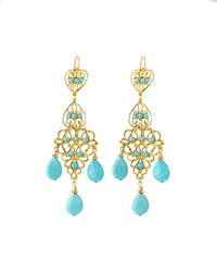 Jose And Maria Barrera Turquoise Chandelier Drop Earrings