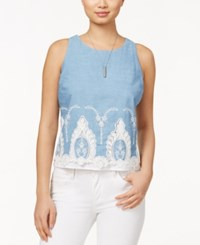Maison Jules Sleeveless Crocheted Hem Shell Only At Macy's Chambray Combo