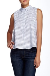 Peach Love Cream California Polka Dot Sleeveless Blouse White