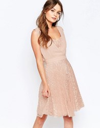 Elise Ryan Pleated Skater Dress With Lace Skirt Pink