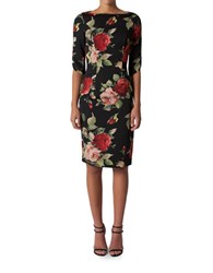 Black Halo Floral Boatneck Dress Petal Push