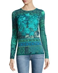 Fuzzi Long Sleeve Mosaic Print Stretch Tulle Top Turquoise