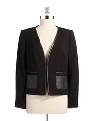 Tahari Arthur S. Levine Faux Leather Accented Jacket Black