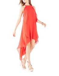 Bcbgmaxazria Georgette Ruffle Dress Bright Poppy
