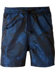Etro Tiger Print Swim Shorts Blue