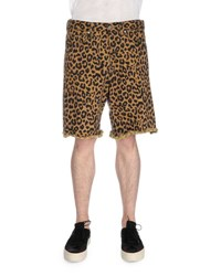 Dries Van Noten Leopard Print Cutoff Shorts Beige