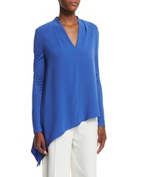 Escada Long Sleeve Asymmetric Hem Blouse Heather Blue