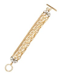 Lydell Nyc Golden Multi Strand Crystal Chain Bracelet Crystal Cl
