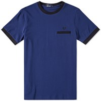Fred Perry Pique Ringer Tee Blue