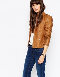 Vero Moda Collarless Leather Look Jacket Brown