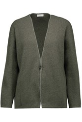 Brunello Cucinelli Embellished Metallic Ribbed Cashmere Blend Cardigan Gray Green