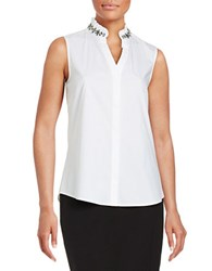 Ivanka Trump Embellished Button Front Shirt White