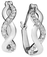 Macy's Diamond Infinity Earrings In 18K Gold And Sterling Silver 1 10 Ct. T.W.