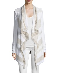 Ella Moss Long Sleeve Cardigan W Fringe Cream