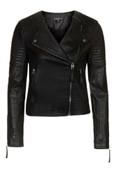 Topshop Petite Quilted Faux Leather Biker Black