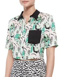 Veronica Beard Printed Stretch Silk Crop Top