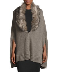 Three Dots Alex Cape Cardigan W Removable Faux Fur Mink