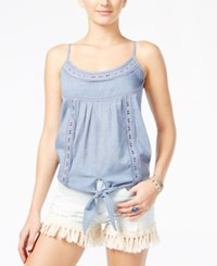 American Rag Juniors' Crochet Texture Tie Front Tank Only At Macy's Chambray